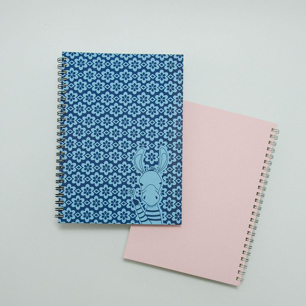 こだわりのリングノート。私だけのオリジナルデザインノート。ロバ・ピンク。